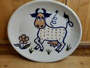 Louisville Stoneware Polka Dot Cow Large Oval Platter Made In Kentucky 13x15.5in