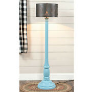 Primitive Country Farmhouse Brinton House Floor Lamp In Misty Blue With Shade