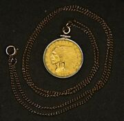 1929 Indian Head 2.50 Gold Quarter Eagle | Gold Color Bezel And Chain Included