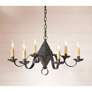 Primitive Country Farmhouse 6 Arm Concord Chandelier In Kettle Black