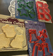 Vintage Pastry Plastic Cookie Cutters Animals Shapes Christmas Lot