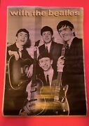 Vintage With The Beatles Poster 24x36 L Lithograph Print Music Band John Lennon