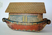 Antique Wood Bliss The World Noah's Ark Toy, Paper Litho, Roof From Converse Toy