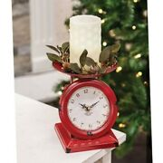 Farmhouse Kitchen Scale Clock Country Red Cranberry Chippy Finish Metal Cottage