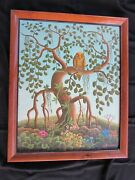 Signed Oil On Canvas - Roosevelt Sanon - Haitian Outsider Artist - Perched Owl