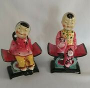 Vintage Lefton's Painted Asian Boy And Girl Porcelain Figurines Made In Japan