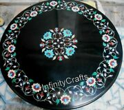 36 Inch Marble Coffee Table Top Round Shape Dining Table With Multi Color Stones