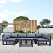 Garden Patio Furniture Set Outdoor Sofa 6 Pcs And Coffee Table Metal Frame Party