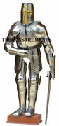 Medieval Knight Templar Armor Suit With Sword And Wooden Base Armor Costume