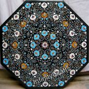 36 Inches Marble Dining Table Top Octagon Shape Office Table With Multi Stones
