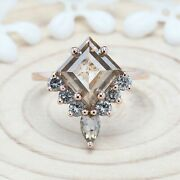 3.51 Ct Brown Salt And Pepper Kite Diamond 14k Solid Gold Gift Ring Kdl9057