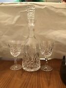Vintage Waterford Crystal Lismore Wine Decanter With Stopper 4 Wine Glasses