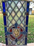18/19th Century Stained Glass Church Window Chalice Gothic 42.5andrdquo X 22.5andrdquo
