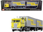 Kenworth K100 Coe Truck Wabash Pup Trailers Icx 1/64 Diecast Dcp First Gear