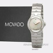 Authentic Movado Silver Tone Women Sports Edition Mother Of Pearl Watch 0604483