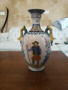 Antique French Quimper Pottery Handled Vase - Man On Front - 12 Inch
