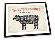 The Butcherand039s Cuts Guide Beef Beige Framed Art Print Picture Poster Artwork
