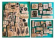 Stampinand039 Up Huge Craft Lot Of Wooden Rubber Stamps New Pre-owned Retired 380+