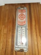 Vintage Original Porcelain Red Seal Battery Gas Station Advertising Thermometer