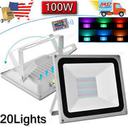 20x 100w Led Rgb Flood Light Outdoor Color Changing Lights With Remote Control