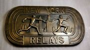 Vintage Sports Trophy Award 1972 New York Track Racing Relays Wall Plaque Brass