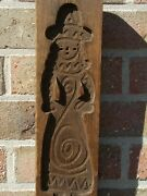 19th Century Wooden Cookie Mold Girl In Traditional Costume
