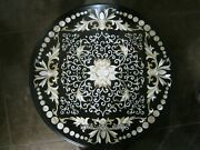 42 Inches Marble Coffee Table Black Patio Dining Table Top With Marquetry Art
