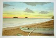 Hawaii Watercolor Painting Lanikai Sunrise And Beached Outrigger L. Segedin 125