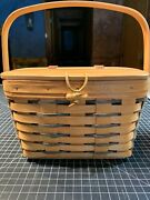 Longaberger Small Purse Basket Attached Wood Lid And Swinging Wood Handle