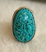 Antique Chinese Sterling Silver Carved Bird Turquoise Ring Fine Jewelry Size 7.5