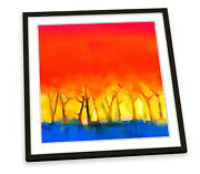 Abstract Sunset Trees Red Framed Art Print Picture Square Artwork
