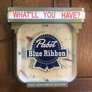 Pabst Blue Ribbon Pbr Beer Lighted Clock 1943 Glass And Metal - Sign