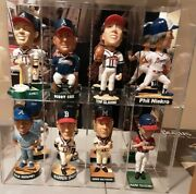 Atlanta Braves Collection Of Eight Bobbleheads In Acrylic Display Case