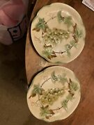 Pair Antique French Majolica Plates Grape Clusters Vines Natural Choicy Le Roi