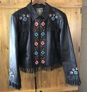 Nwot Double D Ranch Ranchwear Brown Beaded And Embroidered Leather Fringe Jacket