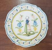 Vintage French Quimper Pottery - 12 Inch Plate With Woman