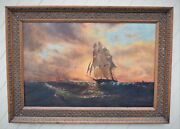 Antique Ocean Tall Ship Nautical Oil Painting Framed Unsigned 37.5 X 52 Estate