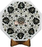 12x12 Marble White Decorative Wall Tile Inlay Black Z Floral Design Home Decor