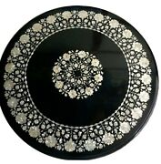 36 Inches Black Marble Office Table Top Round Shape Lawn Table With Mop Work