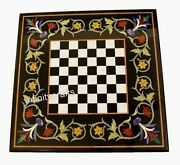 20 X 20 Inch Black Side Table Top Unique Design Inlaid Game Table With Gemstones