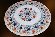 Pietra Dura Art Gemstone Inlaid Lawn Table Top White Dinning Table 42 Inches