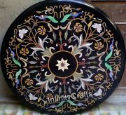 36 X 36 Inches Black Meeting Table Top Marble Coffee Table With Pietra Dura Art