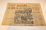 Vintage Newspaper Front Page Midisoir France May 13 1946 Wwii Liberation