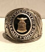 Vintage Early 1947 United States Air Force Officer Sterling Silver Signet Ring