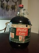 Coca-cola Gallon Glass Bottle Full With Syrup Vintage 1960s Paper Dea Label