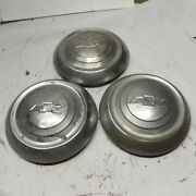 1951-52-53 Chevrolet Chevy Vintage Poverty Dog Dish Hubcaps 2 Chrome 1 Stainless