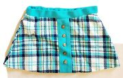 Vintage 1970and039s Girls 4t Plaid Skirt Teal Navy Cotton Nylon Sears Anchor Buttons