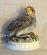 Vintage Snow Bird And Berries Kw 1637 Lefton China Hand Painted Figurine Japan