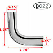 5 Inch Id / Od Chrome 90 Degree Exhaust Elbow Pipe - 18 Length Arms Bozz Tube