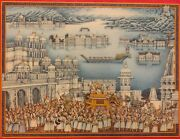 Hand Painted Blue Colored Fine Rajasthani Miniature Royal Procession Painting